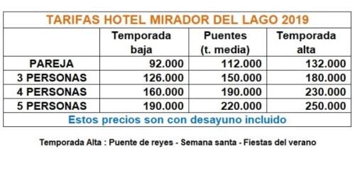 tarifas alojamiento hotel mirador del lago calima