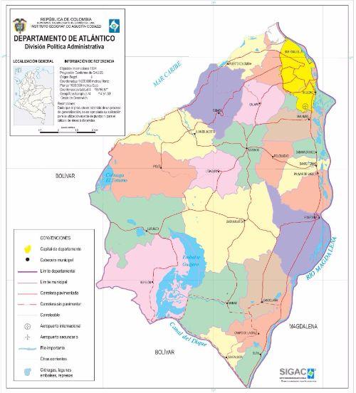 Departamento de Atlántico Mapa Completo