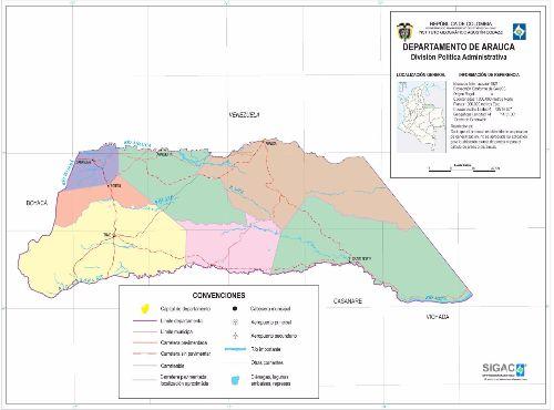 Departamento de Arauca Mapa Completo