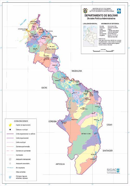 Departamento de Bolívar Mapa Completo