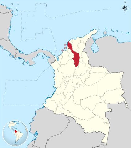 Ubicación del Departamento de Bolívar en Colombia