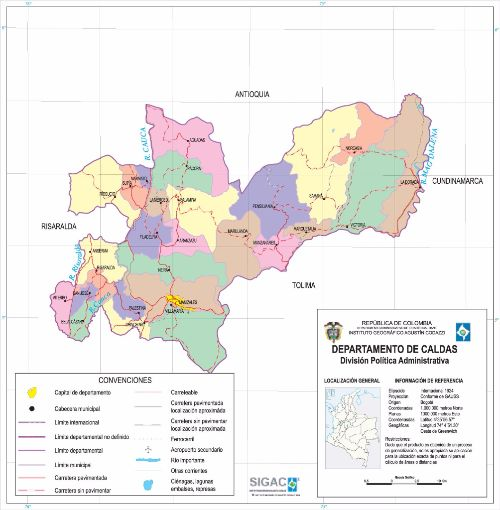 Departamento de Caldas Mapa Completo