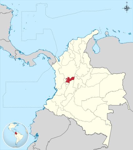 Ubicación del Departamento de Caldas en Colombia