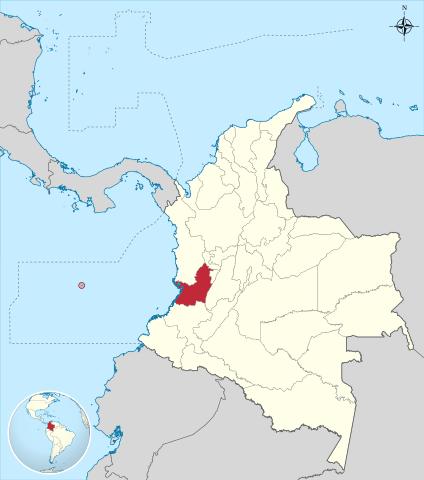 Ubicación del Departamento de Valle del Cauca en Colombia