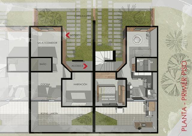 Primer piso vivienda de instares social