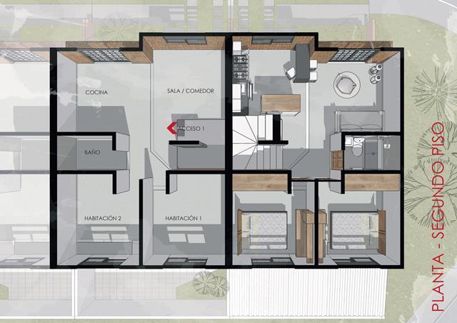 Segundo piso de la vivienda de instares social